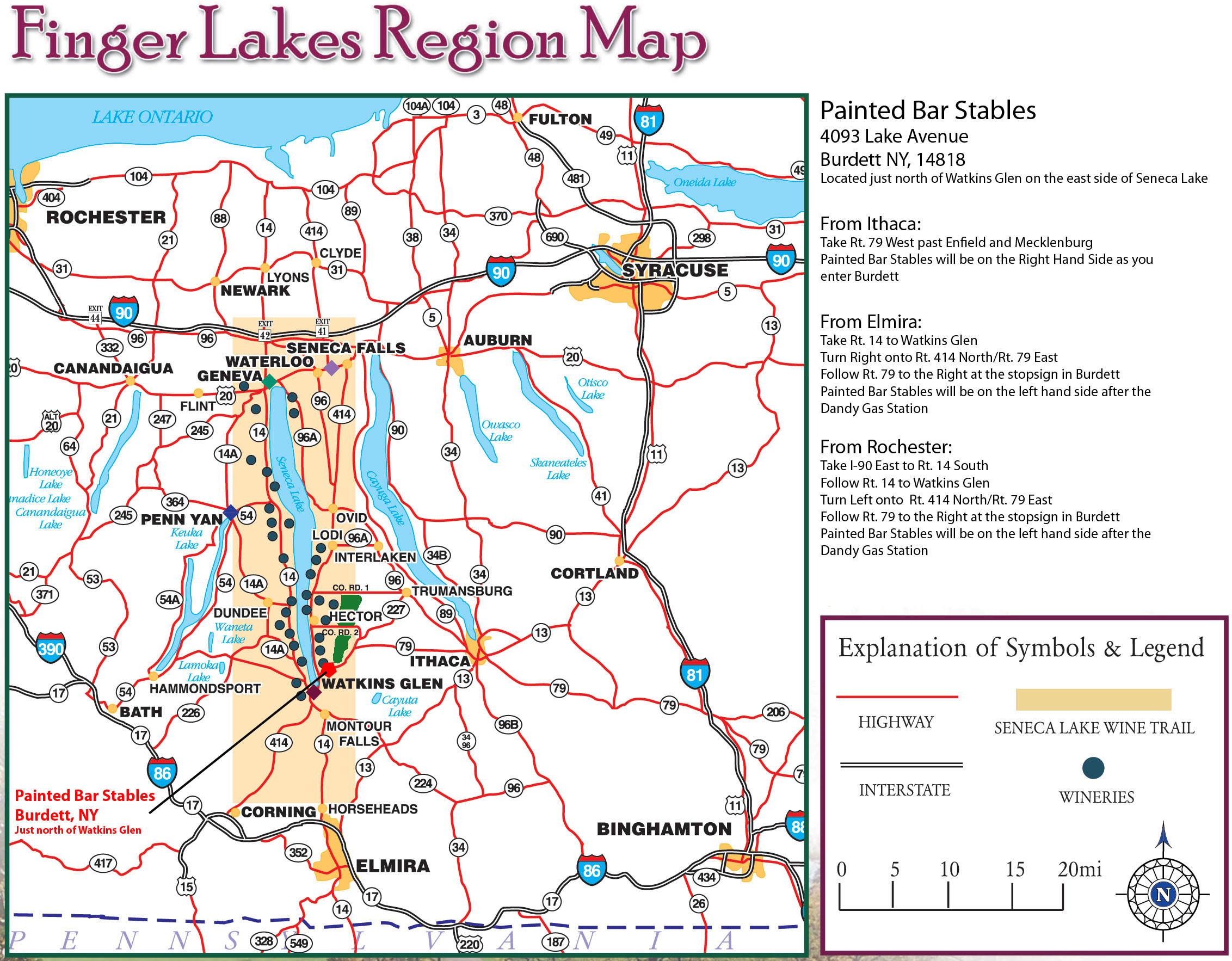 Map of the finger lakes region indicating the Seneca Lake Wine trail and Painted bar Stables' location